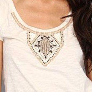 Lucky Brand NWT S Beige T-Shirt w/Beads